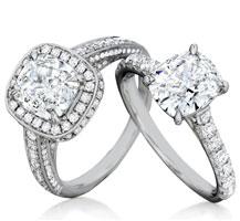 Henri Daussi signature cushion diamond engagement ring